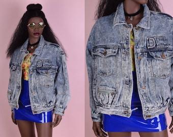 80s Acid Wash Denim Jacket/ Medium-Large/ 1980s/ Jean Jacket