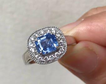 Natural Unheated Blue Ceylon Sapphire Diamonds Ring