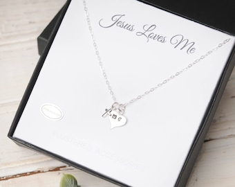 Jesus Loves Me Necklace, Tiny Religious Necklace, Christian Jewelry, Youth Neckalce, Cross Necklace, Cross Jewelry, Cross, Sterling Cross