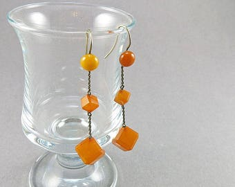 Vintage Amber Earrings Yellow Amber Jewelry Old Amber Beads Dangle Earrings Real Amber Earrings On Silver Wire Antiques Collectibles