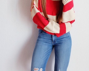 The Kyla Striped Pullover Sweater knitting pattern