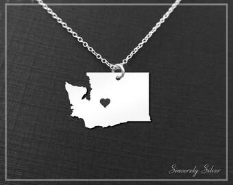 Washington Necklace, Washington Pendant Necklace, Washington Charm Necklace, Washington Jewelry, State Necklace