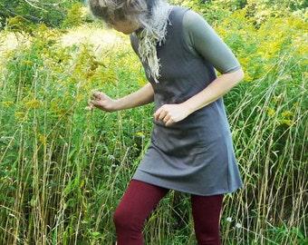 Organic Clothing Organic Cotton Sleeveless Tunic Bamboo Clothing Open Neck Tunic Dress Woodland Eco Chic Apparel Urban Stylish Fashion