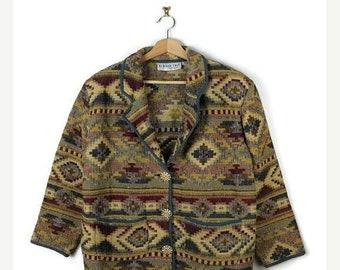 ON SALE Vintage Oversized  Tribal/Navajo Inspired  Pattern Cotton tapestry Jacket