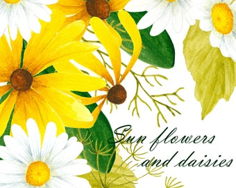 Black-eyed Susan flower clipart, Daisy clipart, Flower illustration, Watercolor flowers, Watercolor clipart, Yellow and white flower,
