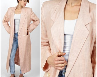 Vintage 1980s Blush Pink Linen Oversized Long Duster Blazer Jacket with Notched Lapels by Ann Taylor | Medium