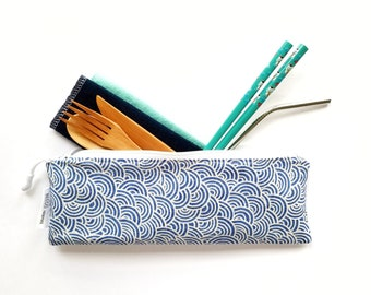 Blue Waves Waterproof Divided Cutlery Pouch, Zero Waste, Straw Pouch, Bamboo Cutlery, Silverware Holder, Toothbrush Case, Cutlery Bag