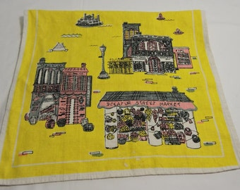 Linen Tea or Hand Towel by Suzanne Mlister New Orleans Yellow Vintage