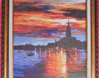Picture Spain Sky. Cross stitch. Hand made