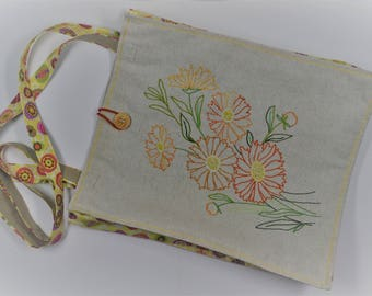 bag of linen and cotton embroidered by hand with sunny flowers
