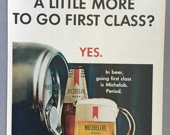 1967 Michelob Beer Print Ad - First Class - Anheuser Busch