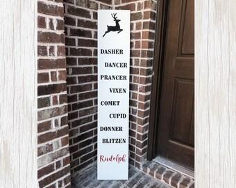 Christmas Reindeer, Reindeer Christmas, Reindeer Sign, Christmas Sign, Reindeer Wood Sign, Christmas Wood Sign, Rudolph Reindeer