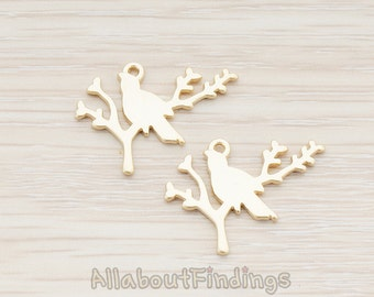 PDT282-MG // Matte Gold Plated Bird and Baby Tree Branch Pendant, 2 Pc
