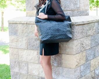 Black leather bag - Large leather tote black - black tote bag - leather work bag - leather weekender bag - leather diaper bag - oversize bag