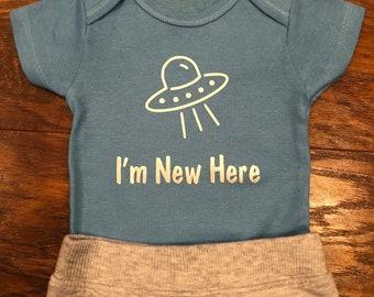 I'm New Here - UFO onesie