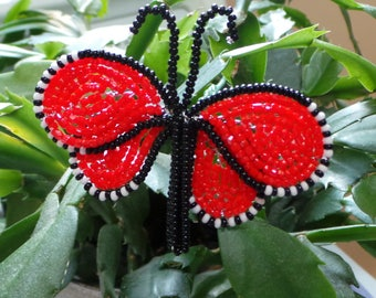 French Beaded Monarch Butterfly Plant Stick