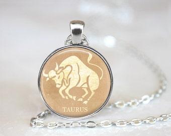 Taurus Pendant, Zodiac Jewelry, Taurus Necklace, Taurus Jewelry, Astrology, Astrological Sign, Taurus, (ZODIAC 3 B1)