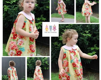 The Olivia Open Back Blouse and Summer Dress PDF Pattern Sizes 12m 18m 2 3 4 5 6 7