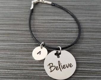 Cord Charm Bracelet - Cord Bracelet - Black Bracelet - Inspirational Bracelet - Believe Bracelet - Cross Bracelet - Believe Charm Bracelet