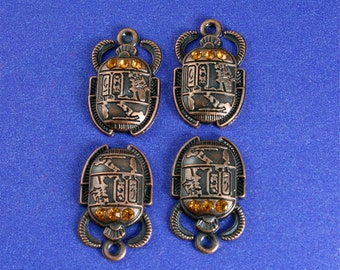 2 pcs-Egyptian Scarab Charm, Copper and Crystal Scarab Charm, Bug Insect Pendant - AC-84711-EB