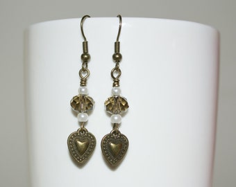 Heart Earrings, Bronze Heart Drop Earrings, Crystal Earrings, Heart Charm Dangle Earrings, Crystal Jewelry, Brown Earrings, Subtle Jewelry