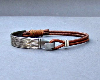 Silver Fork Bracelet, Stainless Steel Spoon Bracelet, Leather Bracelet, Eco Friendly, customized to your wrist