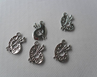 """Set of 5 """"Paint Palette"""" charms in silver"""