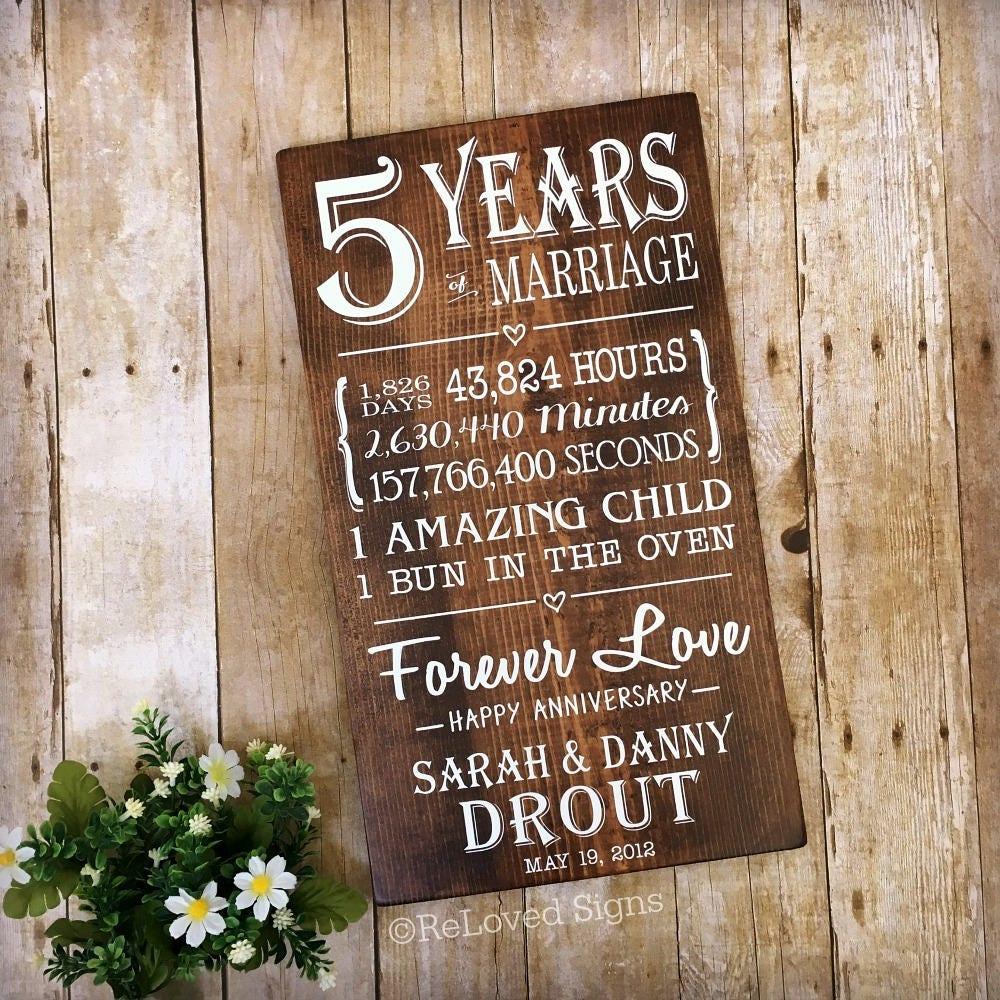 5th Wedding Anniversary Traditional Gift: 5 Years Of Marriage 5th Anniversary Gift Anniversary Wood