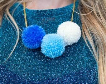 Pastel Blue Pom Pom Necklace