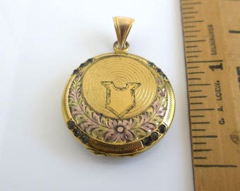 Antique 12K Gold Filled Picture Locket Pendant - Very Ornate Front, Vintage HFB, Double Photo