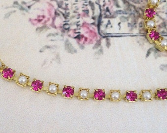 gorgeous 3.2mm small vintage swarovski rhinestone chain pearls and fuchsia crystals 1 foot (12 inches) #49