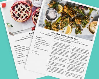 Recipes generator beautiful recipe cards for your recipes printable recipe template 85x11 microsoft publisher instant download forumfinder Choice Image
