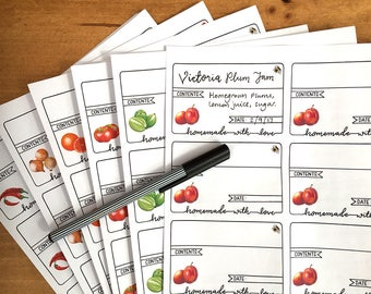 Jam and chutney labels - self-adhesive labels for your homemade preserves.