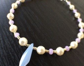 Faceted Pearl Anklet, Pearl Anklet, Beaded Anklet, Seed Bead Anklet, Pastel Anklet, Summer Jewelry