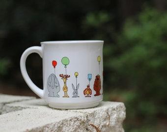 Vintage Sandra Boynton Mug / Animals with Balloons Mug / Boynton Balloon Mug / Sandra Boynton Novelty Mug / Animal Nursery / Animal Mug