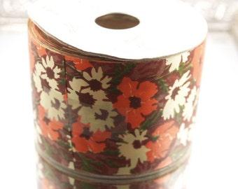 50 Yard Roll Vintage Retro Flowers Ribbon Fall Colors Waterproof Satin