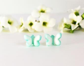Children earrings turquoise earrings butterfly earrings flower girl gift little girl earrings flower girl earrings tiny stud earrings