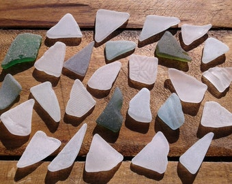 27 sea glass pieces 0.8''- 1.4''[2-3.5cm]. Genuine natural beach glass. Surf tumbled glass for various crafts and jewelry making.