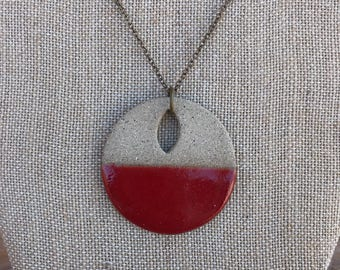 Red circle necklace etsy red circle pendant necklace geometric jewelry gifts for women gifts under 25 gifts for her clay jewelry color block valentines gift aloadofball Choice Image