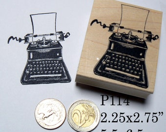 P114 Typewriter with blank note rubber stamp
