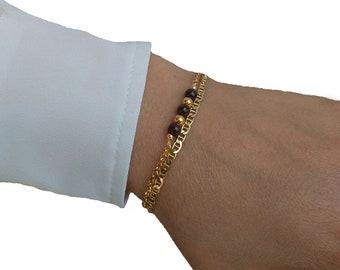 Sterling Silver bracelet, Garnet bracelet, Beads bracelet, Minimalist bracelet.