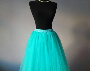 Turquoise tulle skirt - Tulle skirt - Adult tutu - Bridesmaid tulle skirt - Adult tulle skirt - Custom any length - Bridesmaid tutu