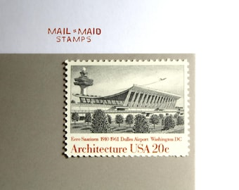 Architecture - Dulles Airport || Set of 5 unused vintage postage stamps