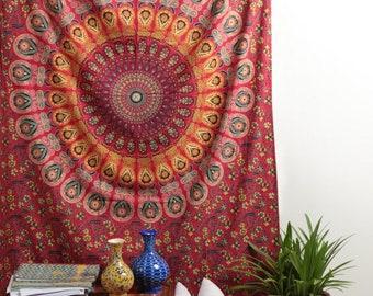 Maroon Peacock Boho Hippie Indian Handmade Mandala Tapestry Twin Size Wall Hanging Multi Purpose