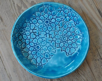 FREE SHIPPING WORLDWIDE! Stars imprinted Large  Turquoise / Blue Handcrafted Pottery Bowl, Ceramic Serving Platter, Stamped , Home Decor