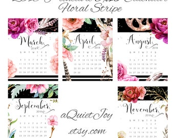 8x10 2018 Floral Stripe Printable Desk Calendar. Instant Download.