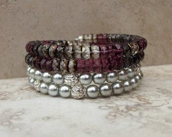Purple Wrap Bracelet:  Silver Beaded Cuff, Amethyst and Smoky Topaz Stacked Bracelet, Christmas Jewelry, Holiday Party