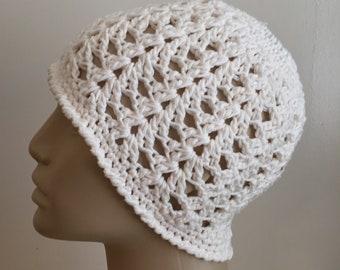 Women's crochet ponytail, messy bun, hat, summer / spring, COTTON, ecru,   Ready to ship.  S86