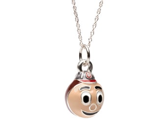 Ohio State Necklace | Ohio State Buckeyes Brutus Charm Pendant Necklace | Officially Licensed Ohio State Jewelry | Stainless Steel