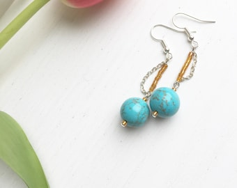 Turquoise Earrings, Boho Earrings, Gift For Her, Clip On Earrings, Summer Jewelry, Turquoise Jewelry, December Birthstone, Statement Jewelry